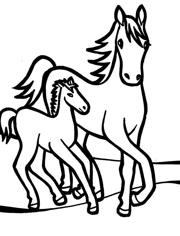 Раскраска лошадь 16