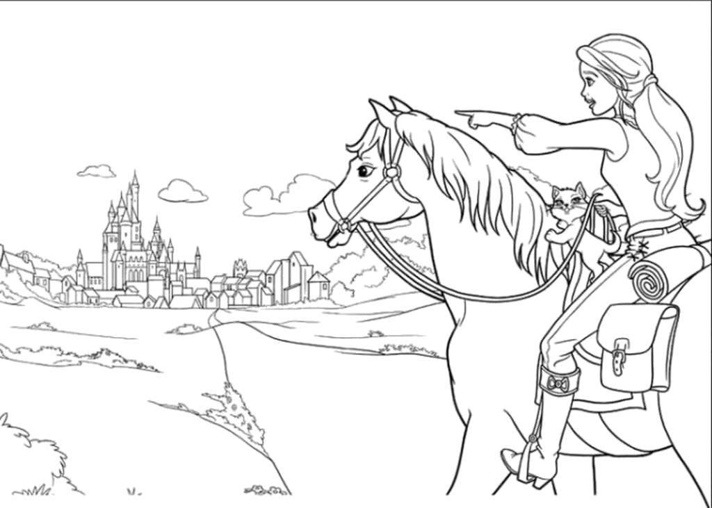 раскраска Барби на лошади 3