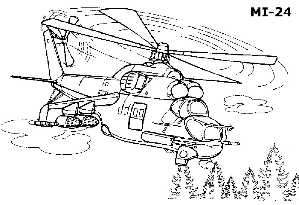 Раскраска вертолёт 10