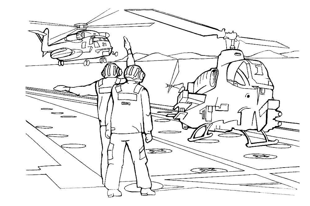 раскраска вертолёт 11