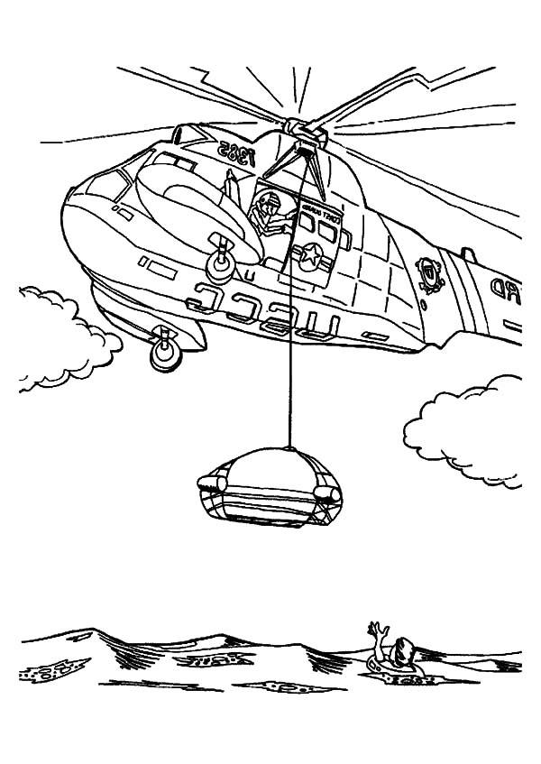 Раскраска вертолёт пожарный