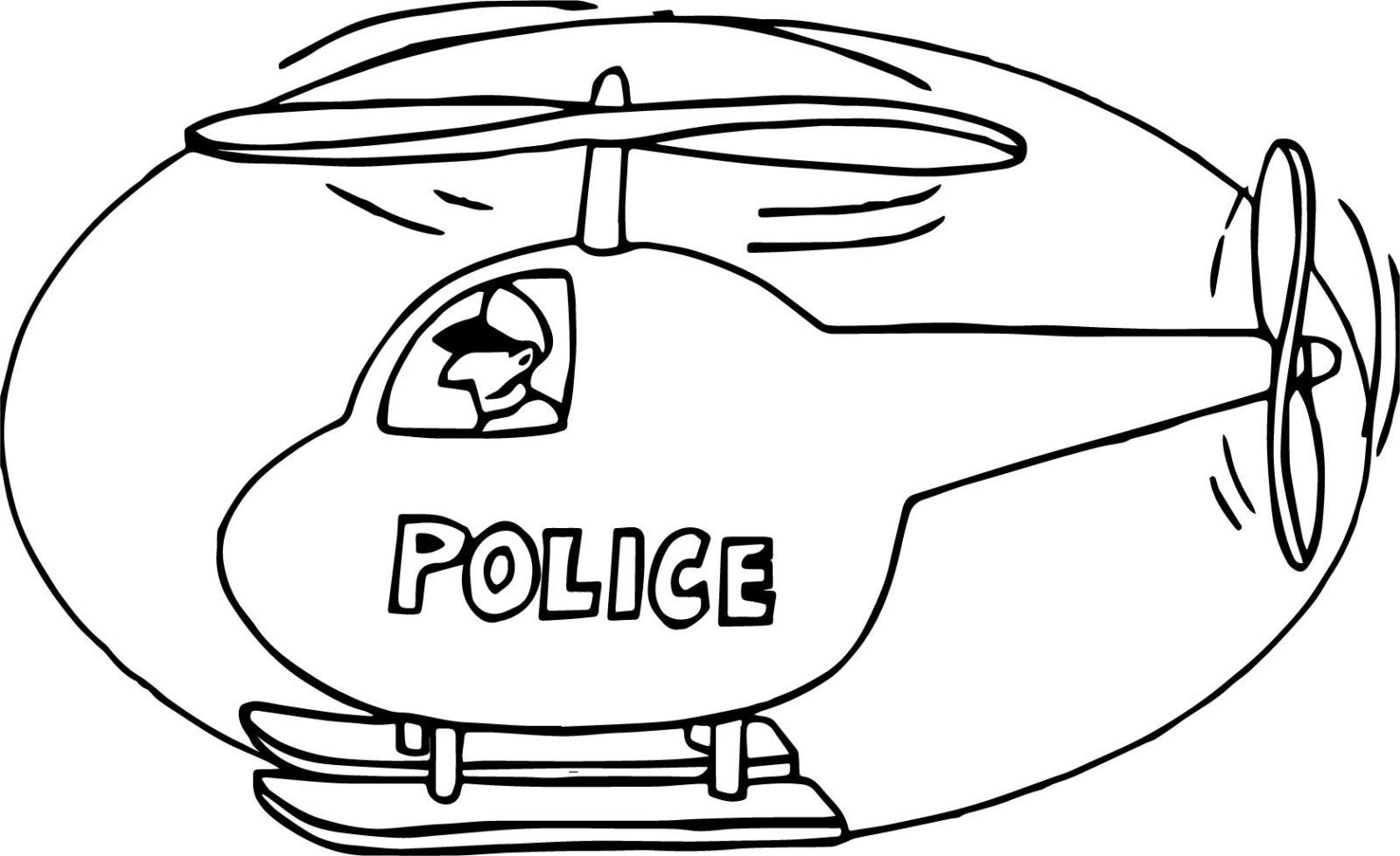 раскраска вертолёт полицейский 2