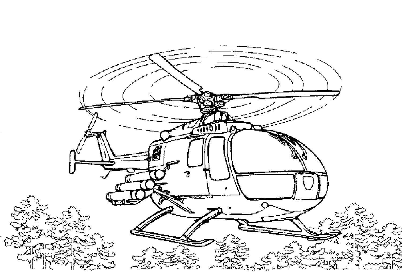 Раскраска вертолёт полицейский