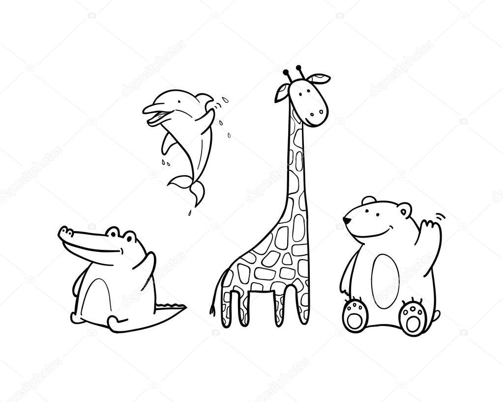 Раскраска жираф 13