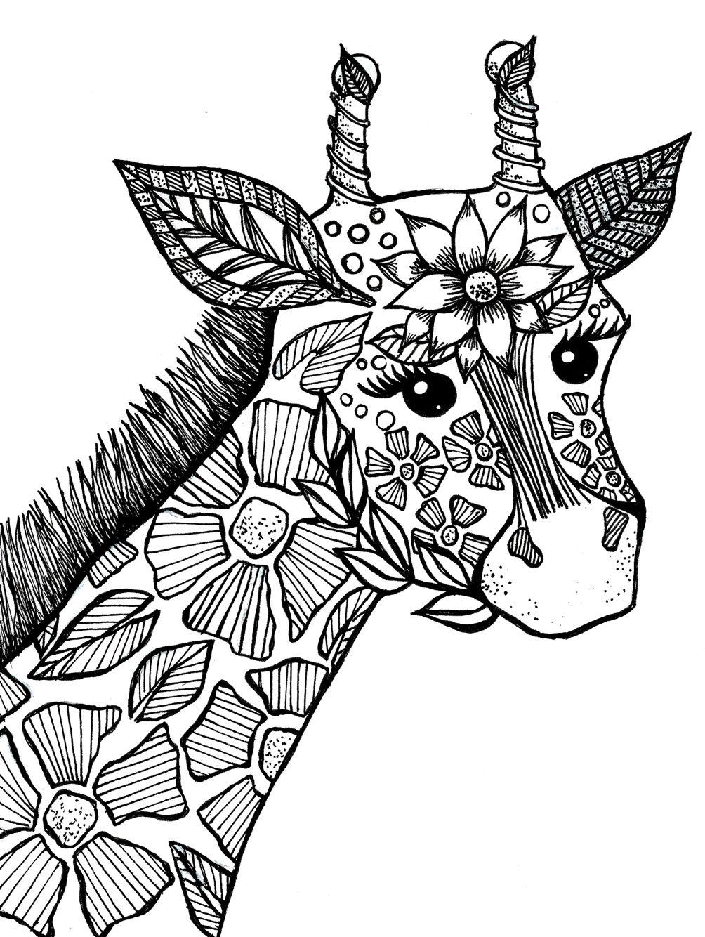 раскраска жираф антистресс 4