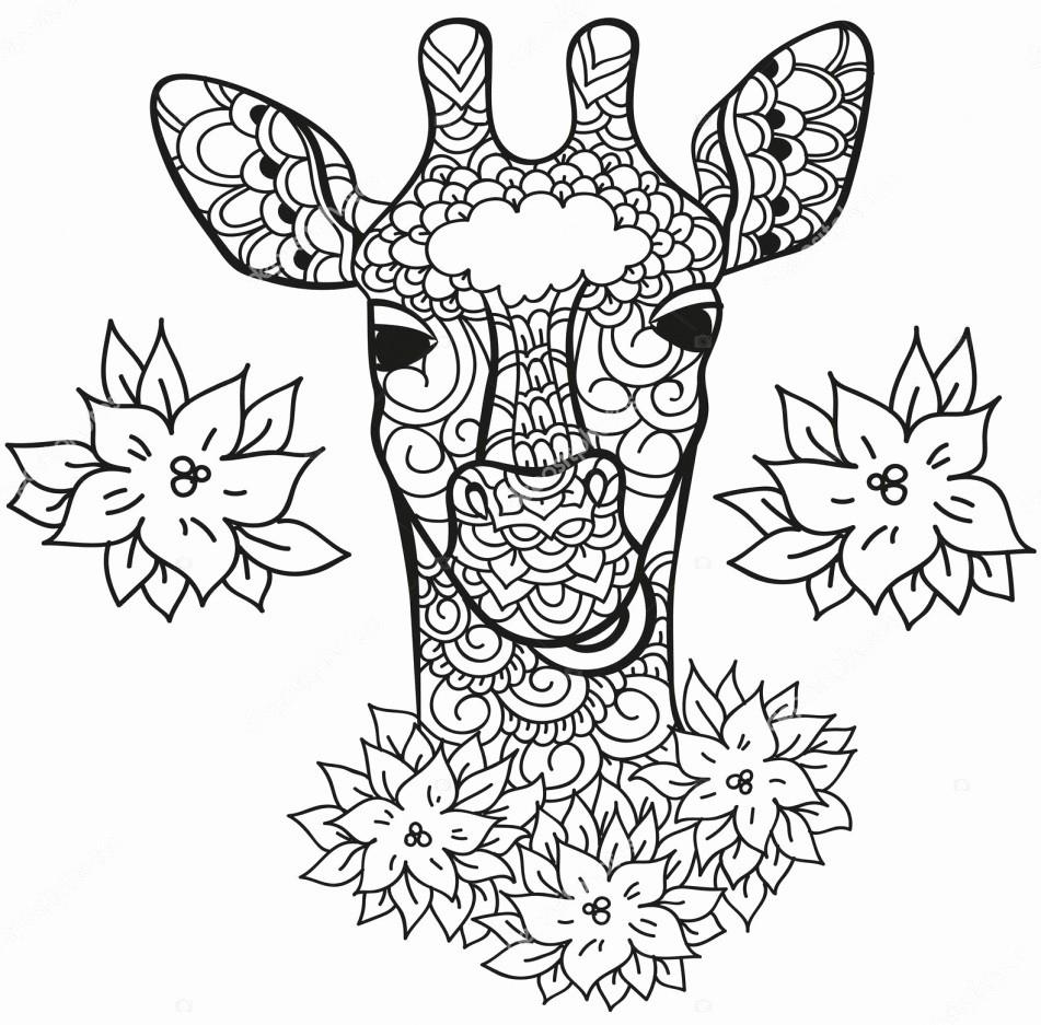 Раскраска жираф антистресс
