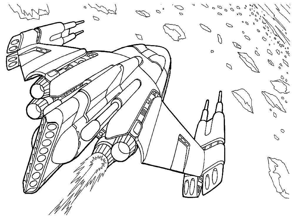 Раскраска корабль космический