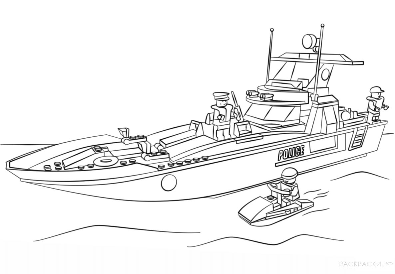 Раскраска корабль полицейский