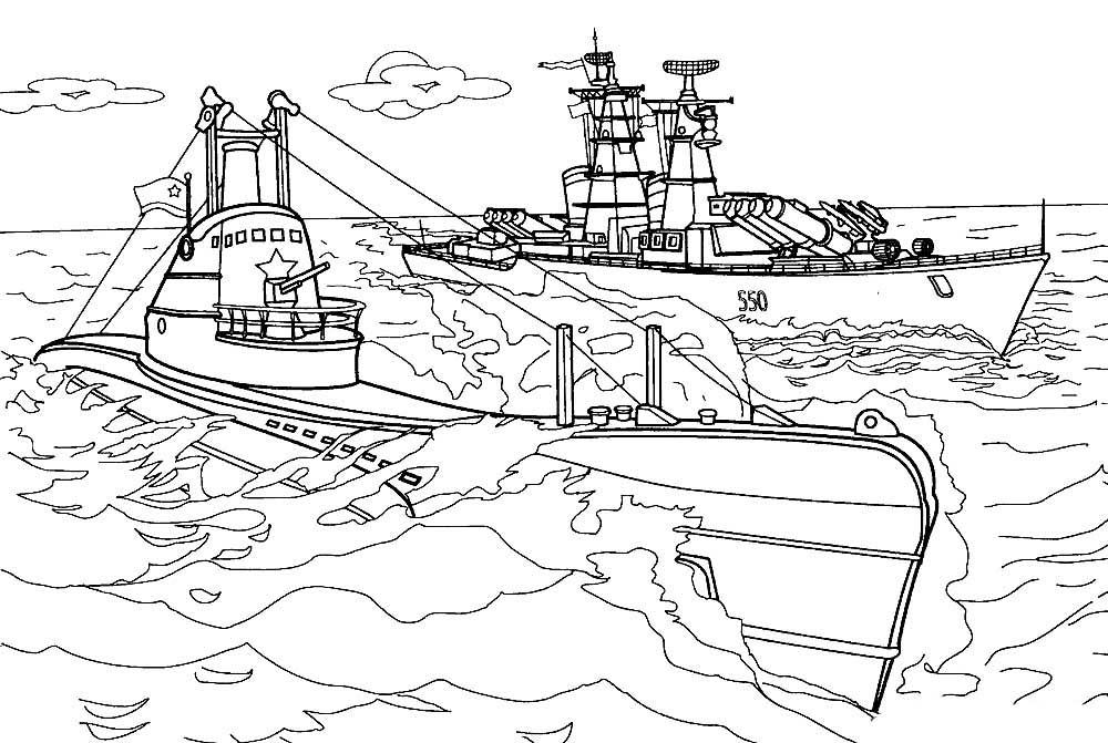 Раскраска подводная лодка 3