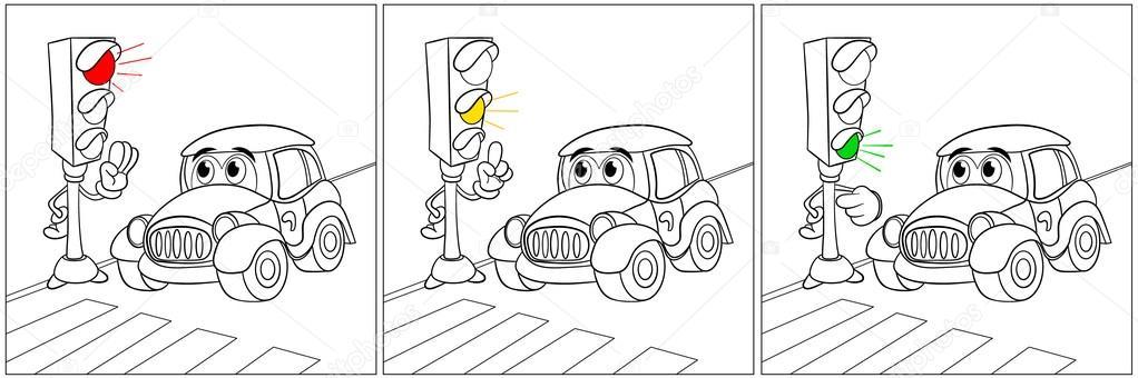 Раскраска светофор 17