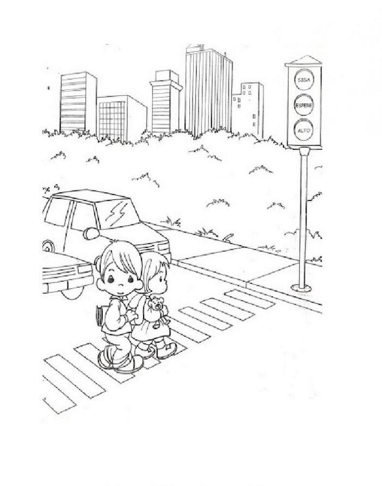 Раскраска пешеходный переход 14