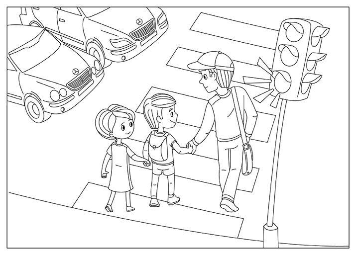 Раскраска пешеходный переход 6