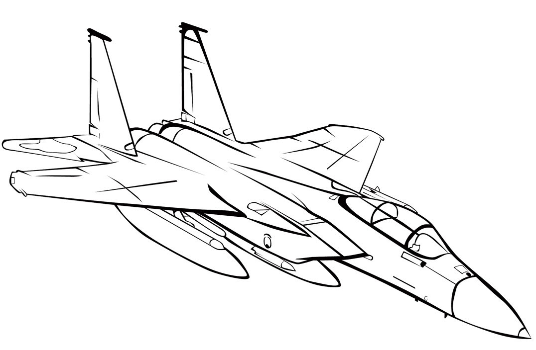 раскраска самолёт истребитель