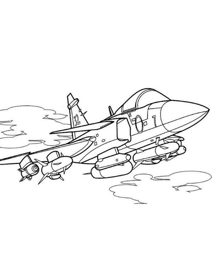 Раскраска самолёт бомбардировщик 4