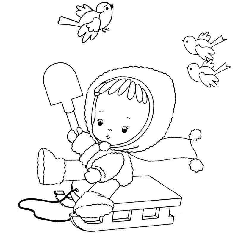 Кукла на санках зимой 28