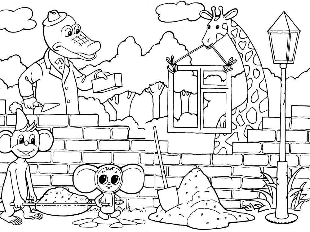 Раскраска крокодил Гена 109
