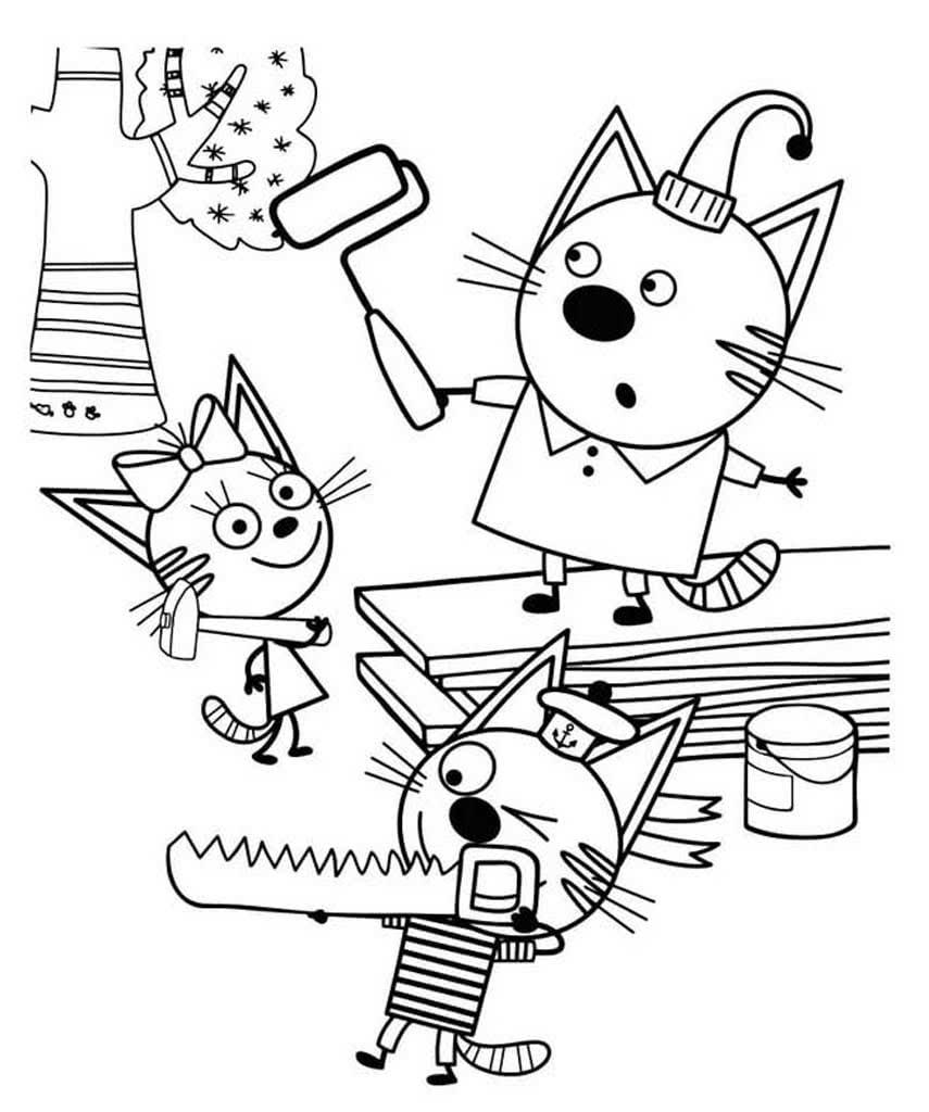 Раскраска три кота 45
