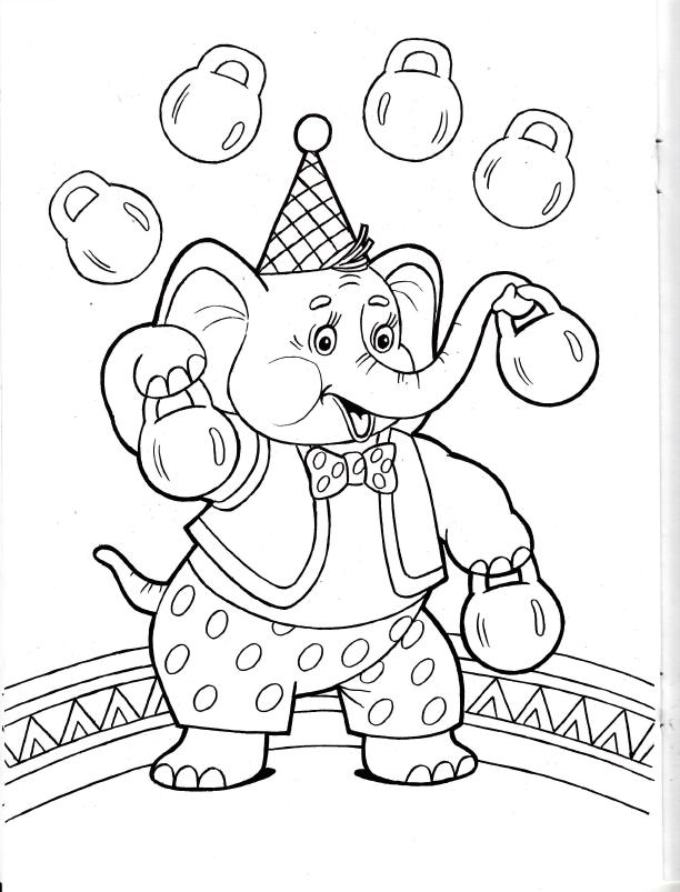 Раскраска слон в цирке 23