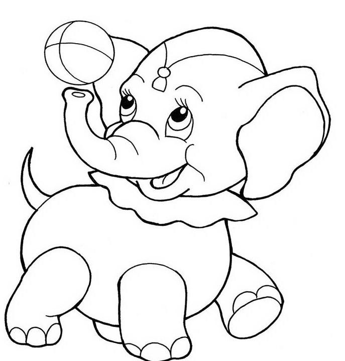 раскраска слонёнок 4
