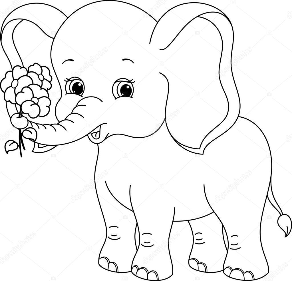 Раскраска слонёнок 7