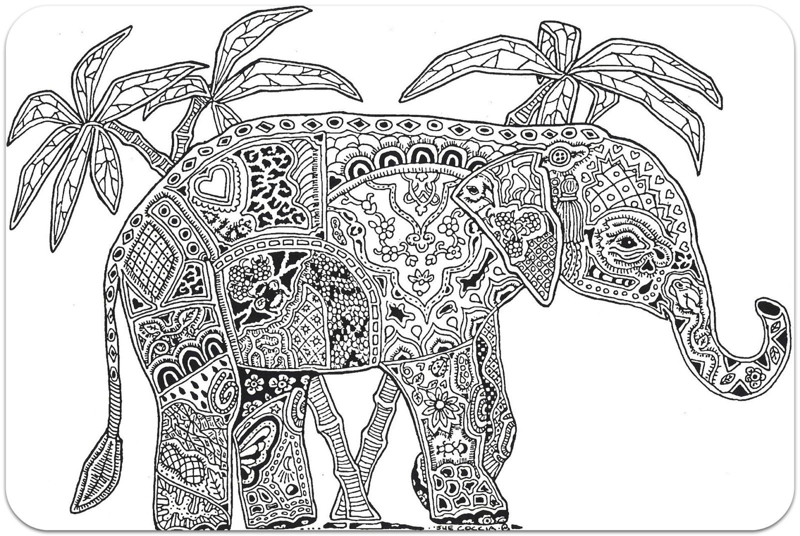 Раскраска слон антистресс 12
