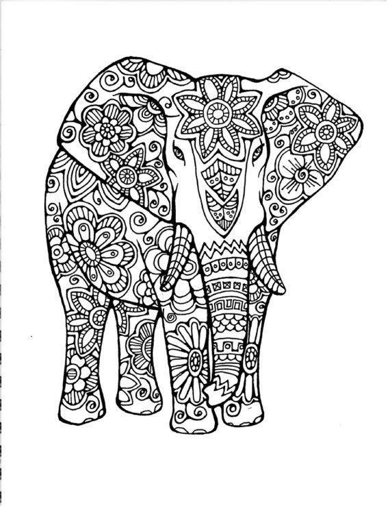 раскраска слон антистресс 7