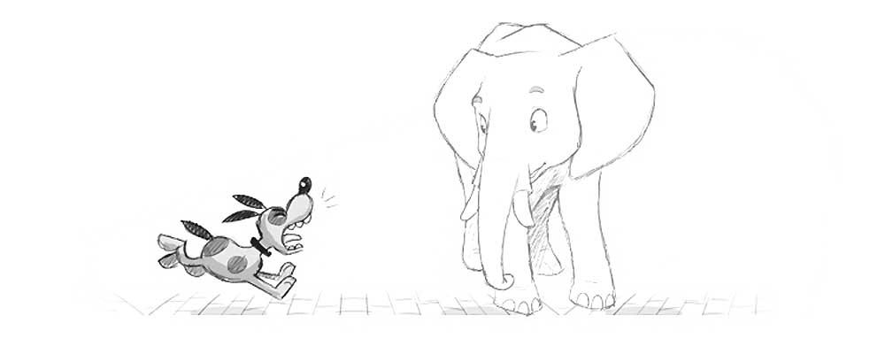 раскраска слон и моська