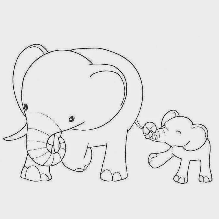 Раскраска слонёнок 10