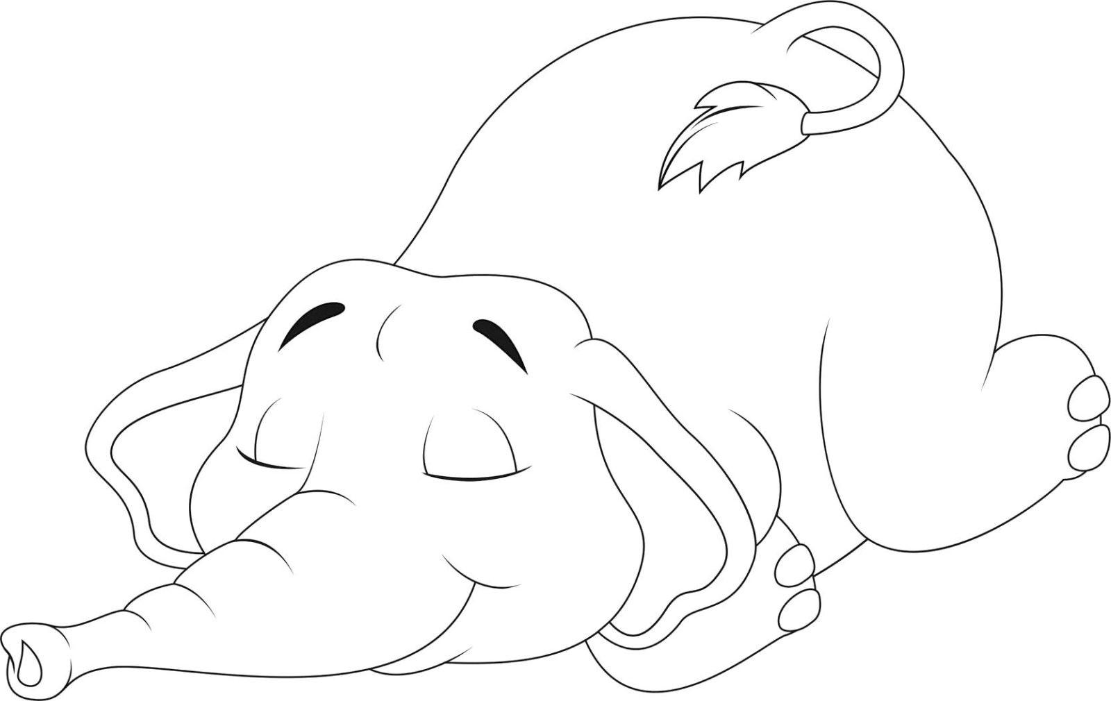 Раскраска слонёнок 20
