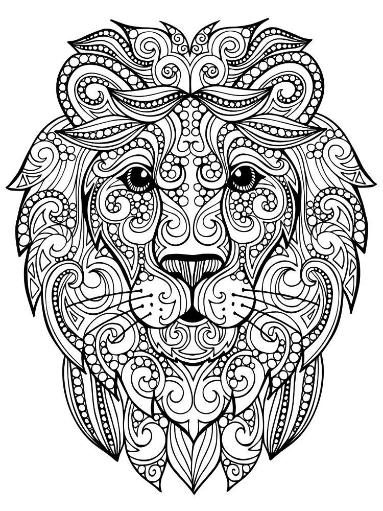 раскраска лев антистресс
