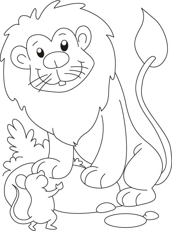Раскраска лев и мышь