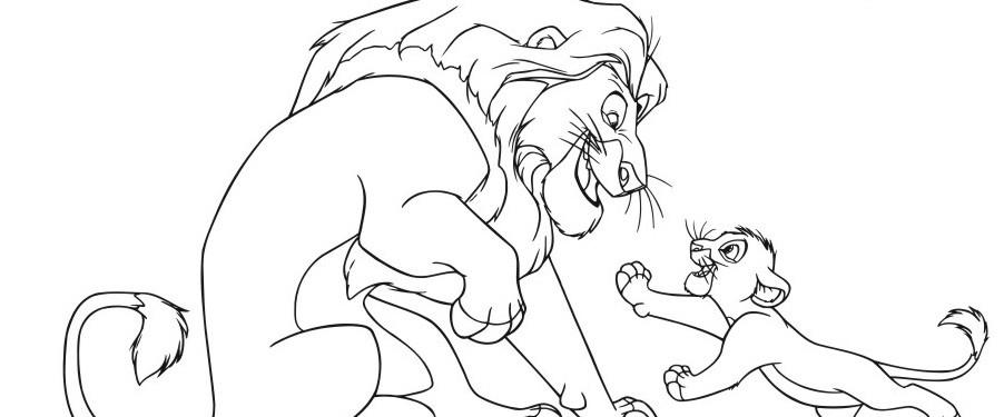 раскраска лев и львёнок