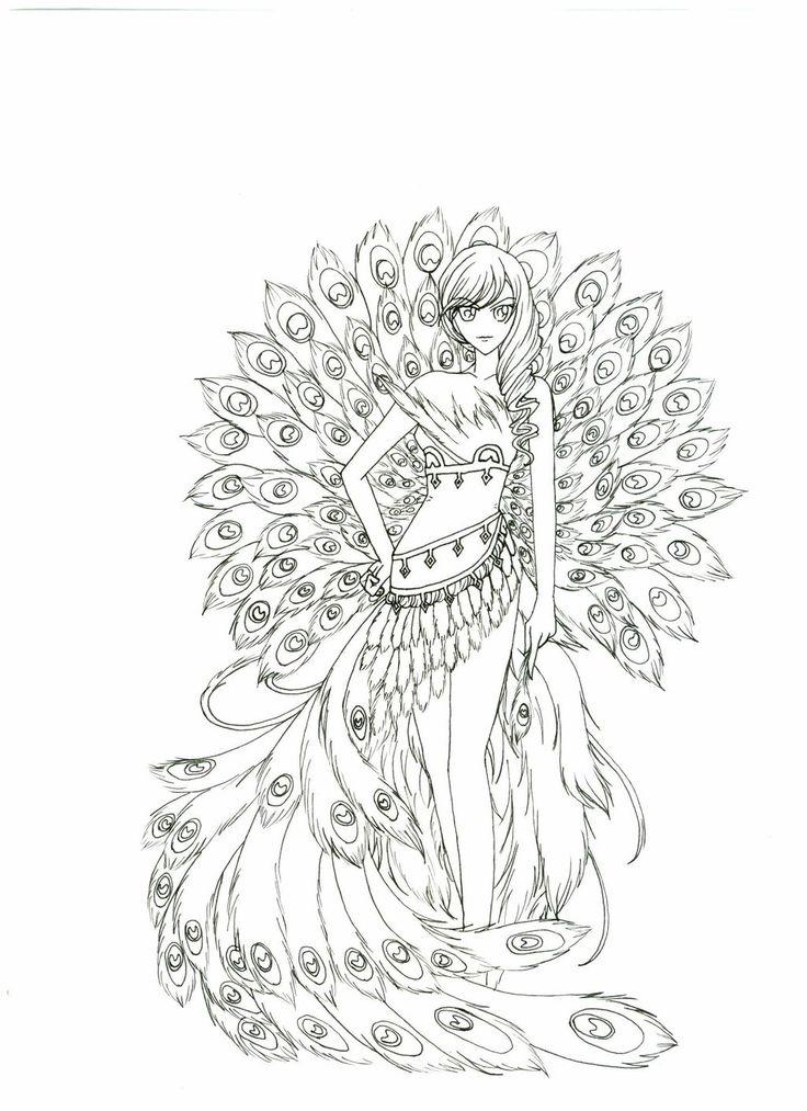 Раскраска девушка павлин