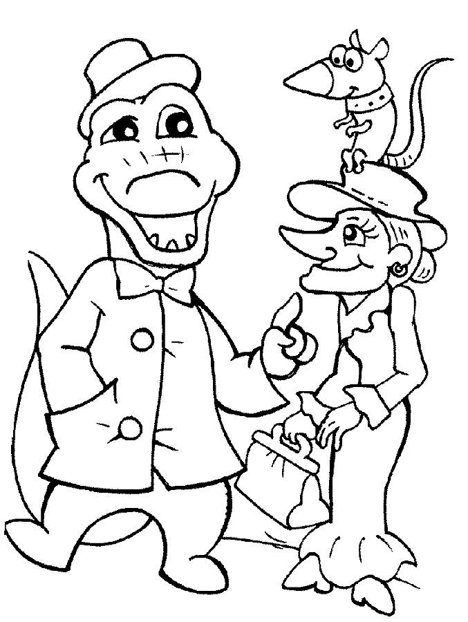 Раскраска крокодил Гена 49