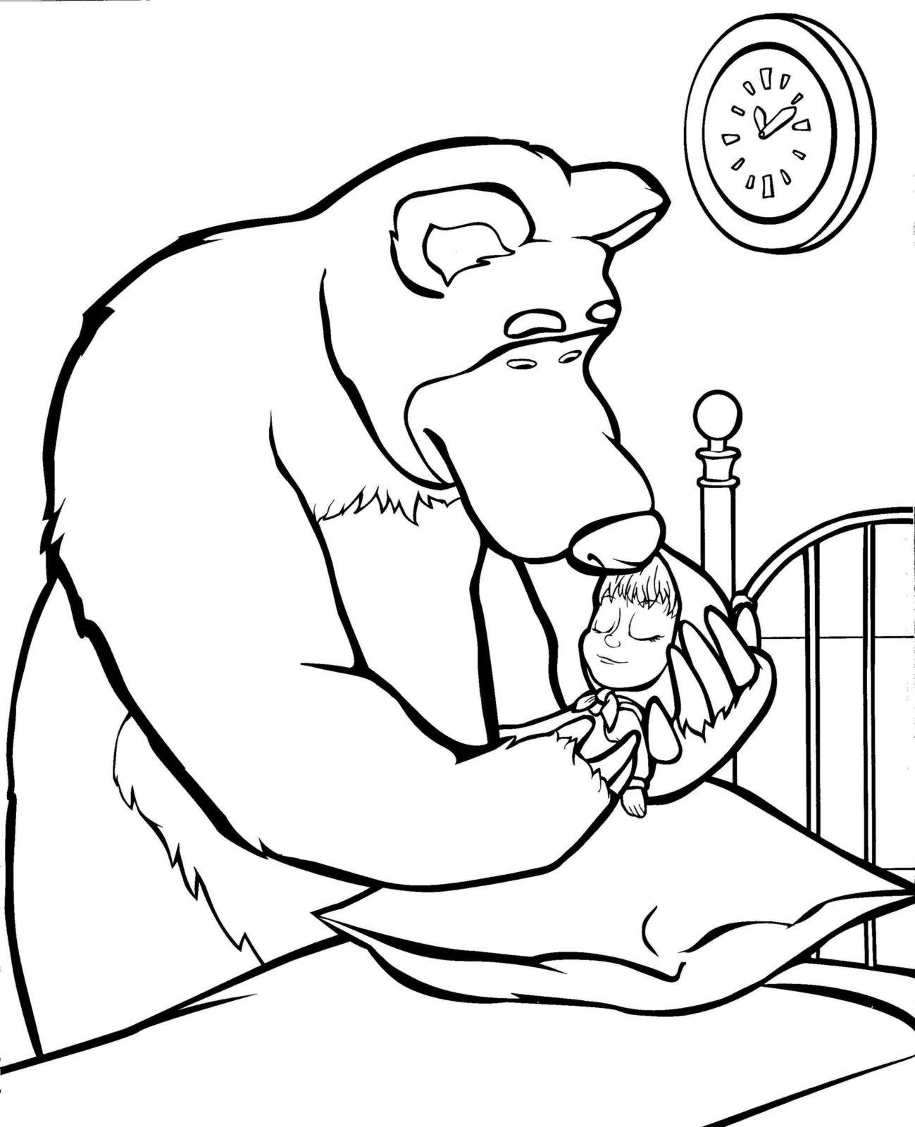 Маша и медведь раскраска 45