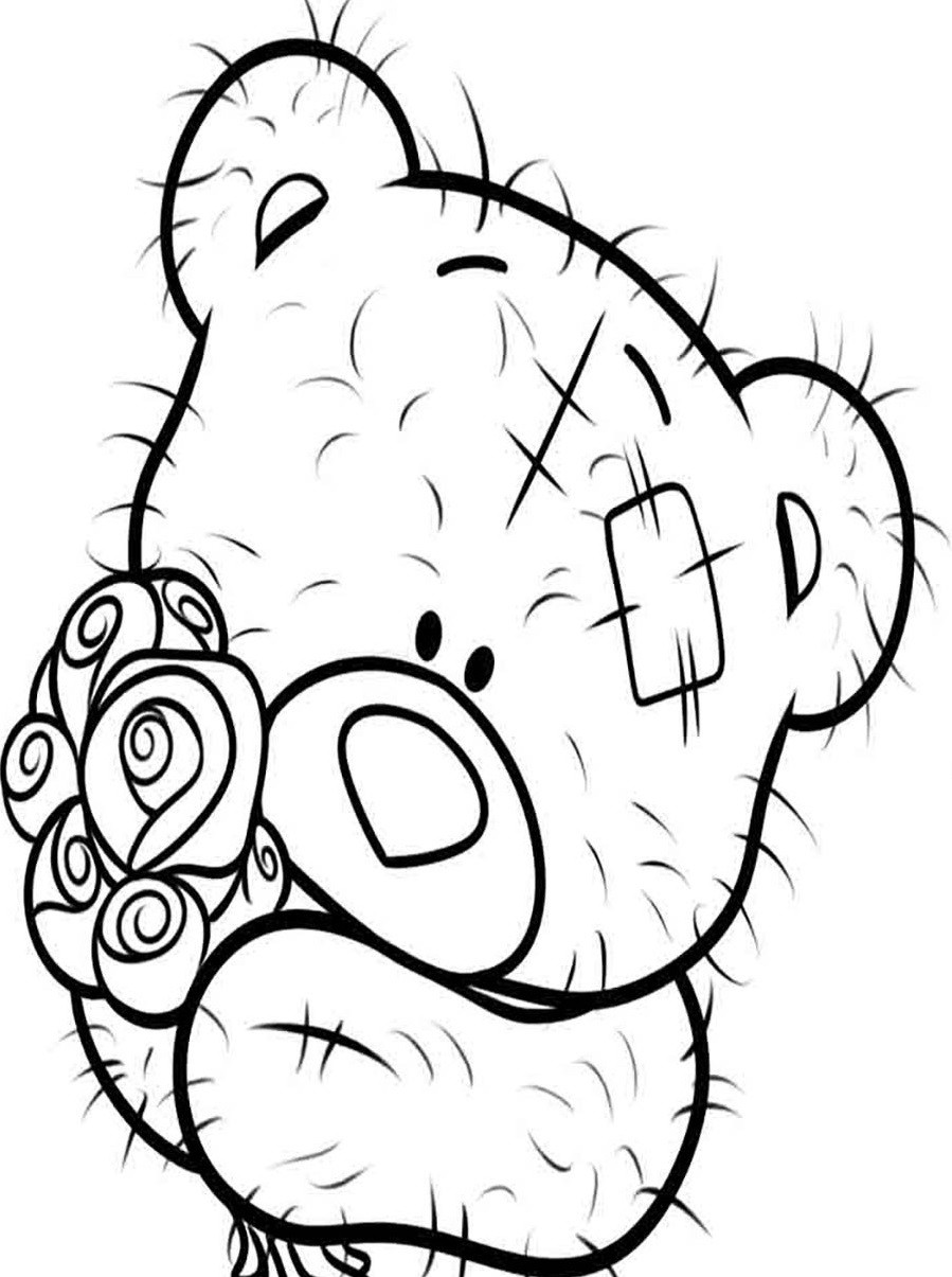 Раскраска мишка Тедди 3