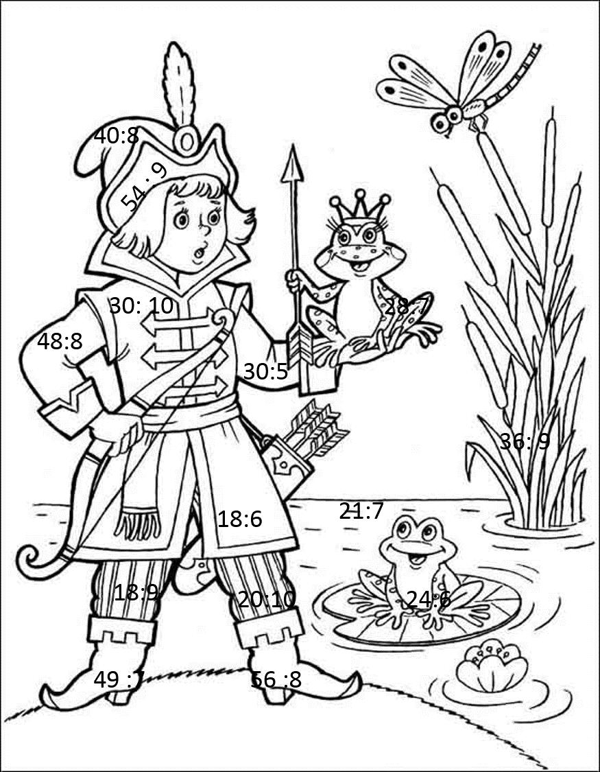 Раскраска лягушка царевна 23