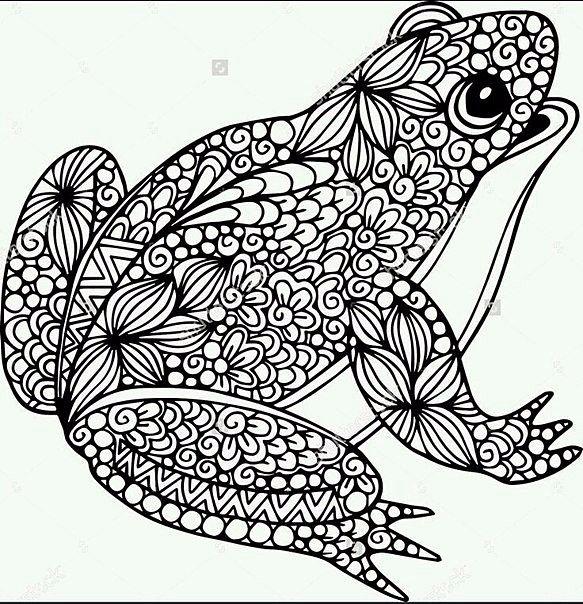 Раскраска лягушка антистресс