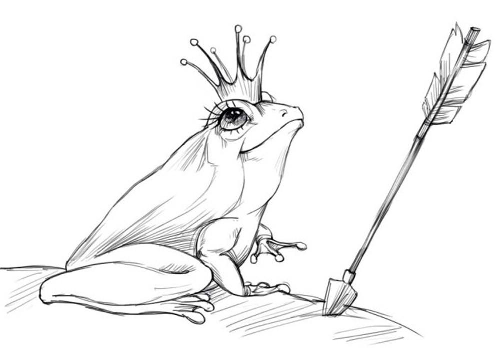 Раскраска лягушка царевна 3