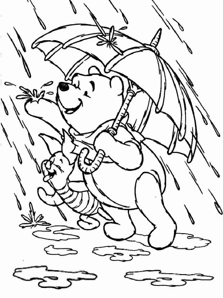 Винни пух и Пятачок под дождём