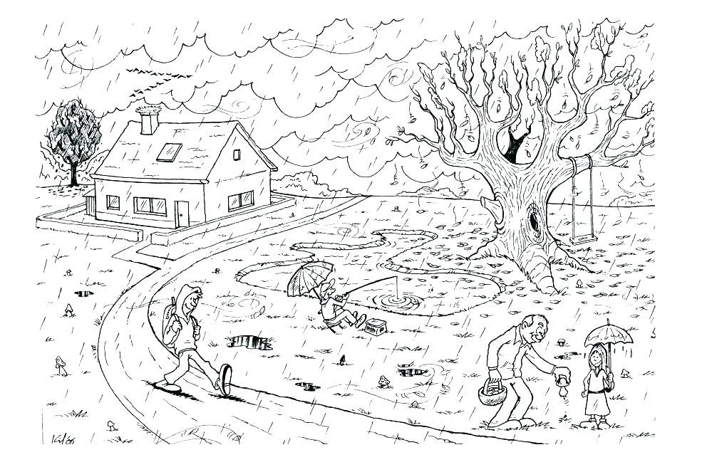 раскраска осень в деревне