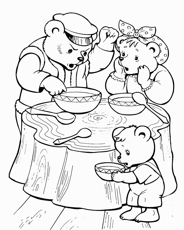 раскраска три медведя