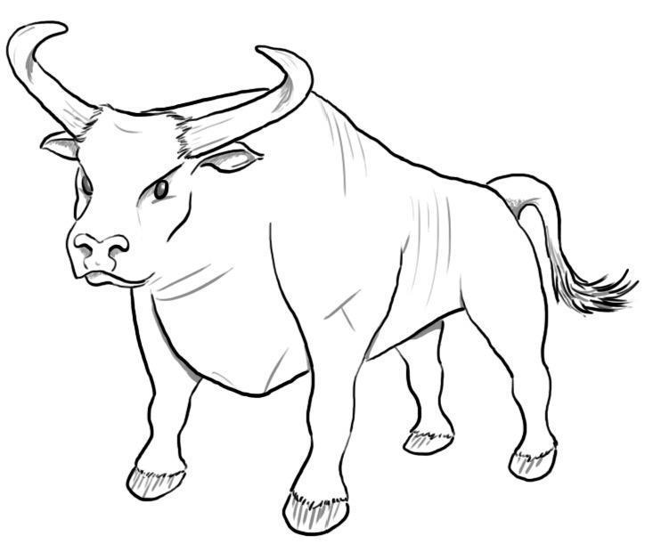 Раскраска бык 3