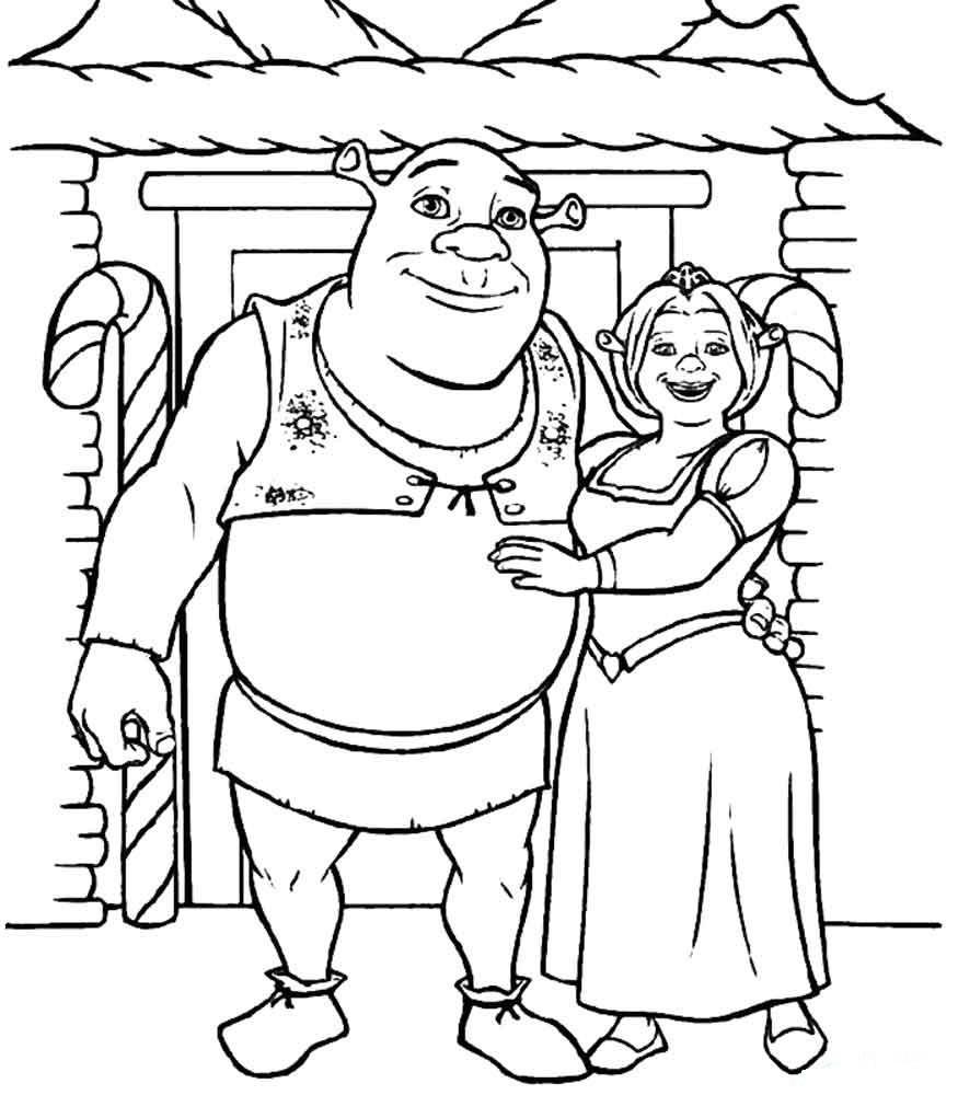 раскраска Шрек и Фиона