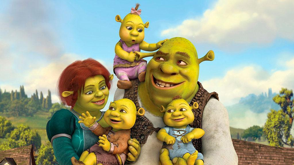 Шрек и Фиона с детьми