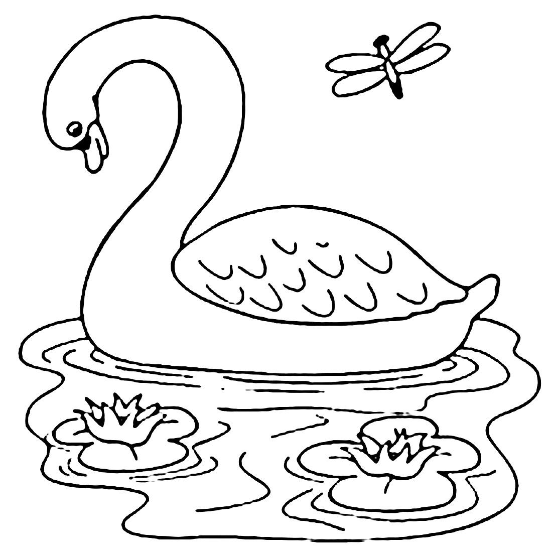 Раскраска лебедь 19