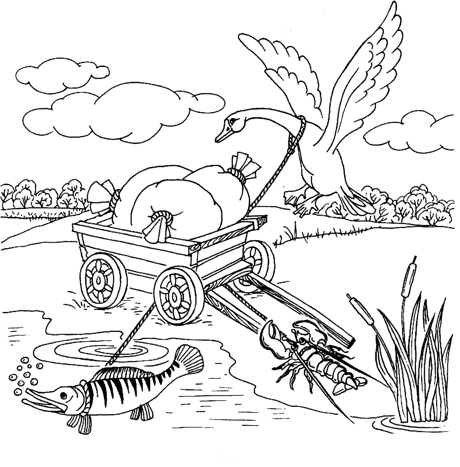 Раскраска Лебедь, Рак и Щука