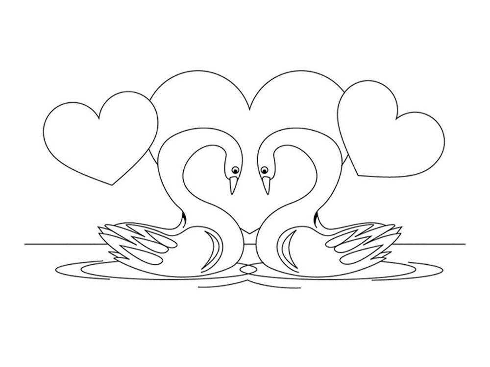 Раскраска лебеди