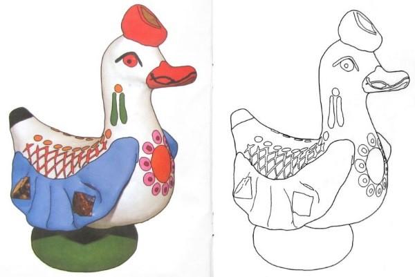 Дымковская игрушка утка