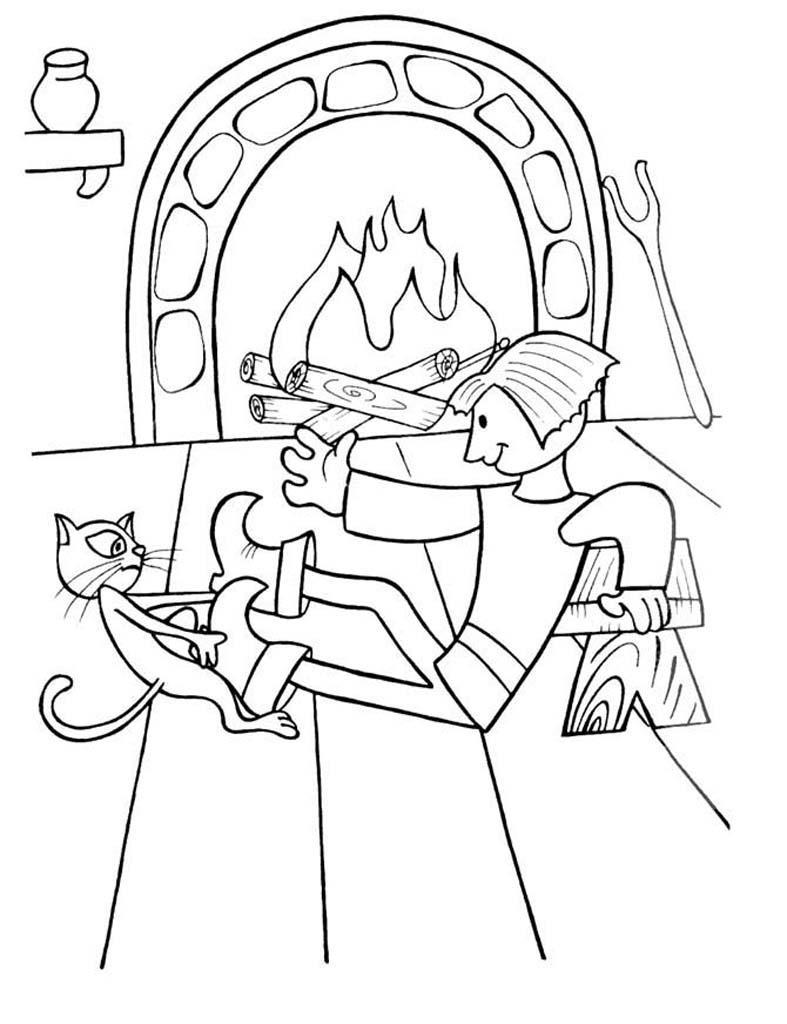 раскраска Кот в сапогах 8